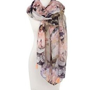 ECHO TROPICAL FLORAL WRAP SCARF COVER UP PINK